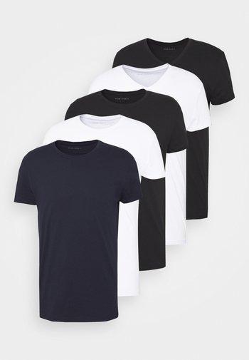 5 PACK - Basic T-shirt - white/black