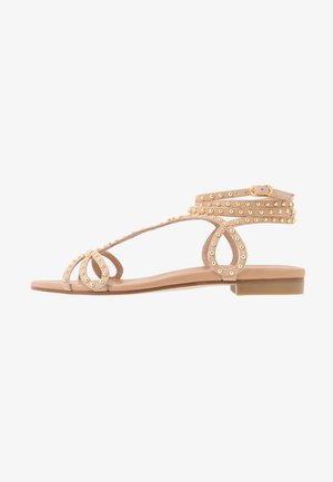 LEYA BEAD FLAT - Sandals - adobe/gold