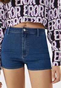 Bershka - Denim shorts - dark blue - 3