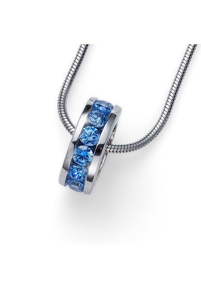 CIRCLE 925AG CZ - Ciondolo - blau