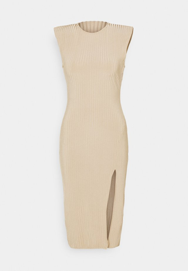 MIDAXI SIDE SPLIT DRESS - Stickad klänning - beige