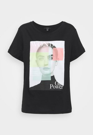 VMIMOGENDIANA TOP BOX - Print T-shirt - black