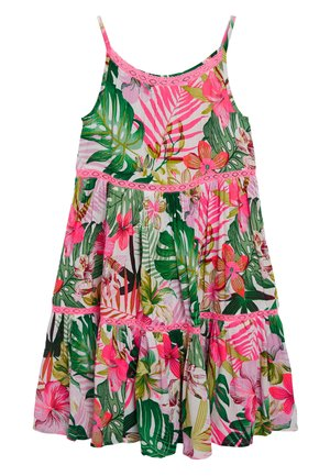 PINK/GREEN PALM PRINT TIERED DRESS - Day dress - pink