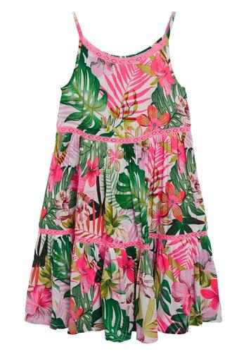 PINK/GREEN PALM PRINT TIERED DRESS
