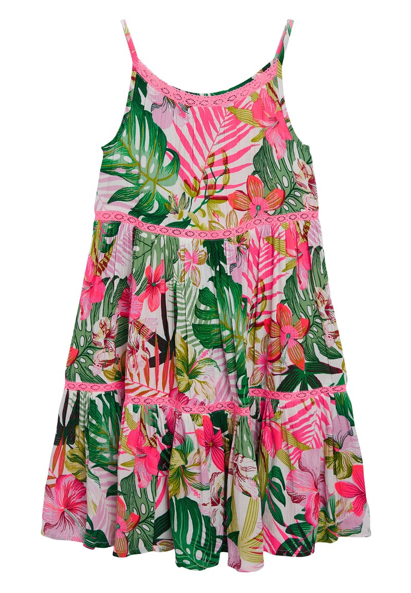 Next - PINK/GREEN PALM PRINT TIERED DRESS - Day dress - pink