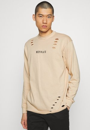 DISTRESSED - Long sleeved top - sand