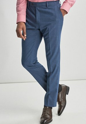 BLUE SKINNY FIT STRETCH MARL SUIT TROUSERS - Suit trousers - blue