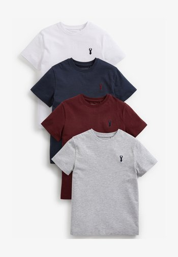 4 PIECE PACK STAG EMBROIDERY  - T-shirt print - blue / bordeaux / grey