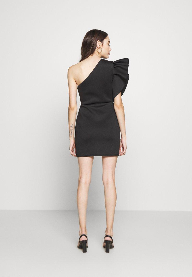 Missguided Petite - ONE SHOULDER RUFFLE WRAP MINI DRESS - Jerseykjole - black