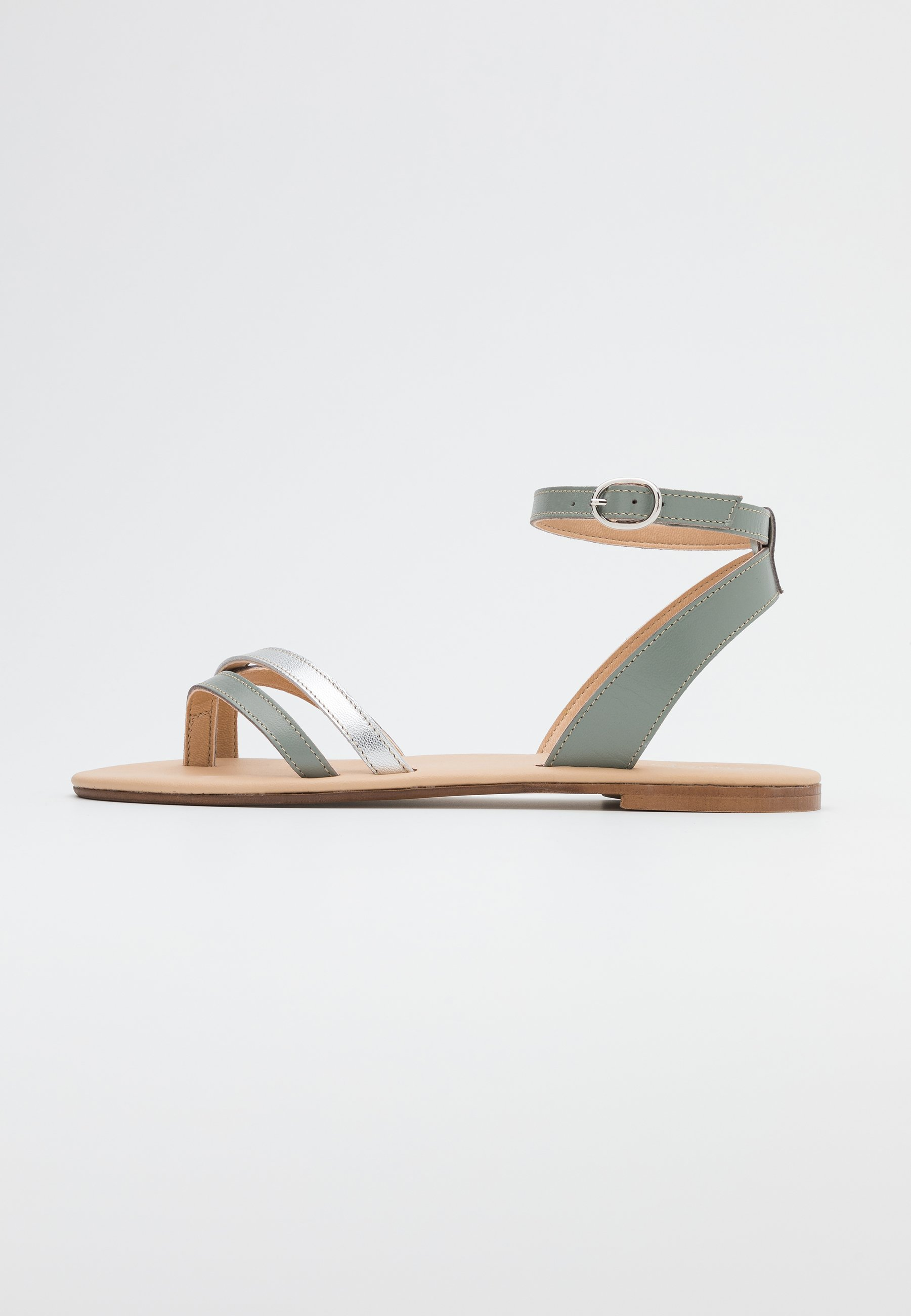 Anna Field LEATHER - Flip Flops - white/silver