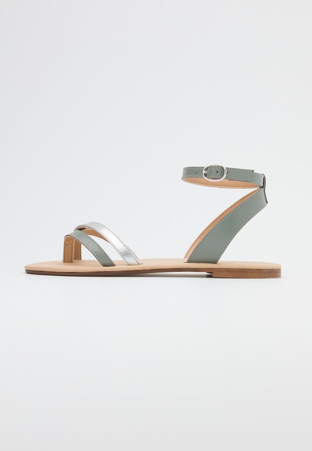 LEATHER - T-bar sandals - mint/silver