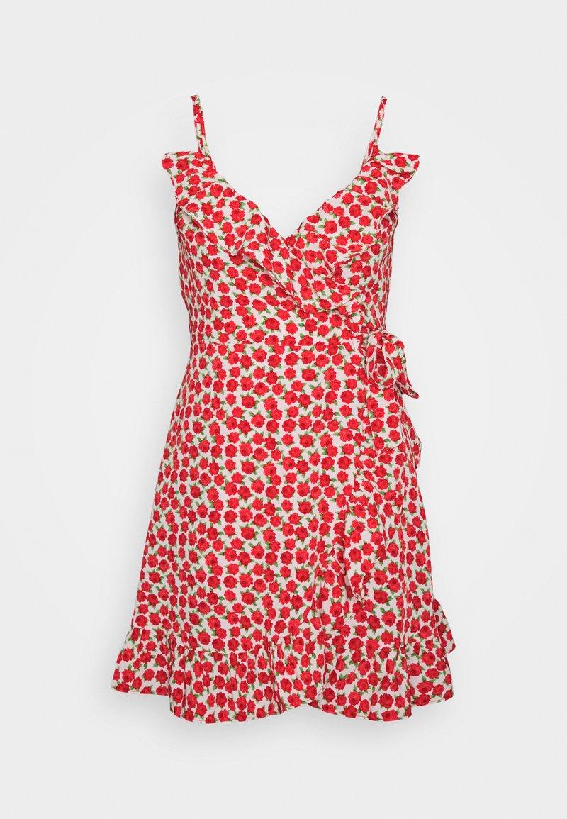 Topshop - RUFFLE SLIP DRESS - Vardagsklänning - red