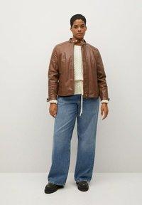 Violeta by Mango - CHELASEA - Leather jacket - marron moyen - 0