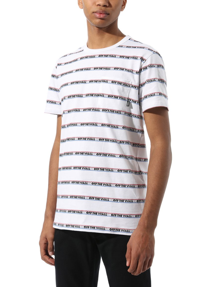 Vans - MN DIMENSIONS STRIPE - Print T-shirt - white