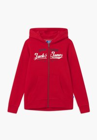 Jack & Jones Junior - JJELOGO ZIP HOOD - Zip-up hoodie - tango red - 0