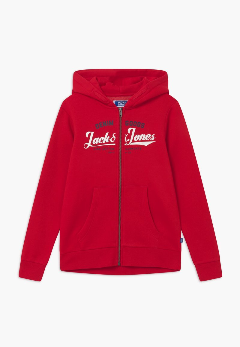 Jack & Jones Junior - JJELOGO ZIP HOOD - Zip-up hoodie - tango red
