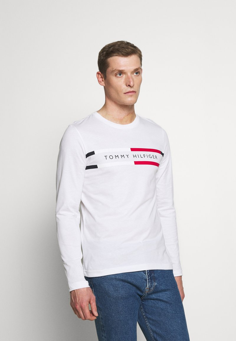 Tommy Hilfiger - CHEST STRIPE - Long sleeved top - white