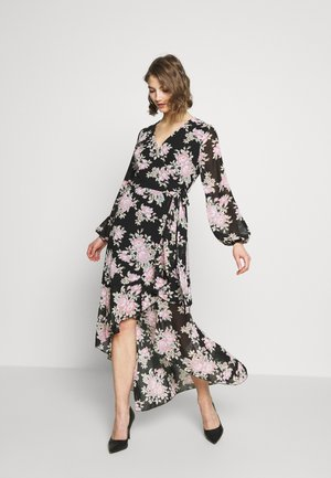 HIGH LOW BALLOON MIDI DRESS FLORAL - Długa sukienka - black