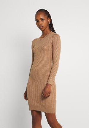 knit mini wide rib basic dress - Tubino - mottled dark brown