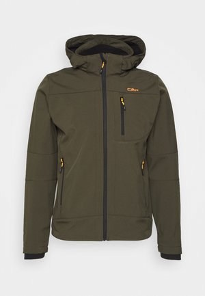 MAN JACKET ZIP HOOD - Softshellová bunda - oil green/nero