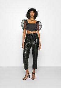 Missguided - PUFF SLEEVE CORSET - Blouse - black - 1