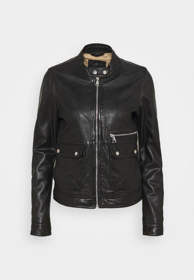 VENECIA - Kožená bunda - black