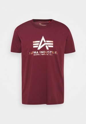 BASIC FOIL - Camiseta estampada - burgundy/yellowgold