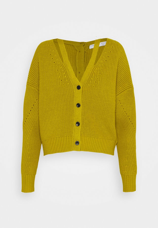 CARDIGAN BUTTON BACK - Cardigan - acid green
