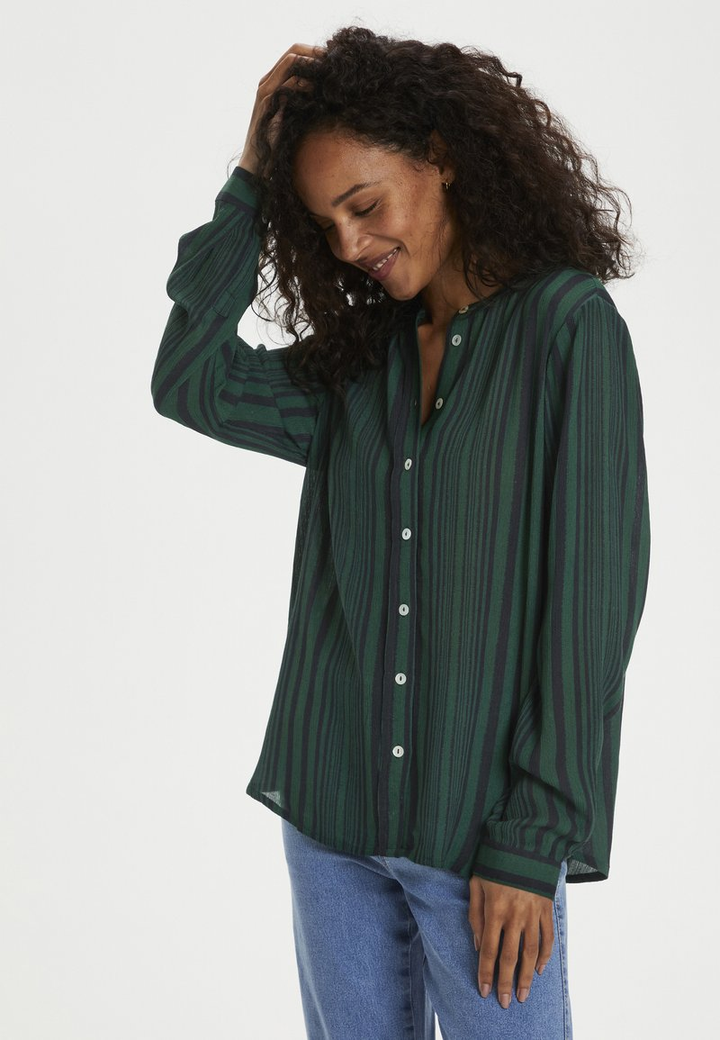 Kaffe - KANORA - Button-down blouse - dark green stripe print