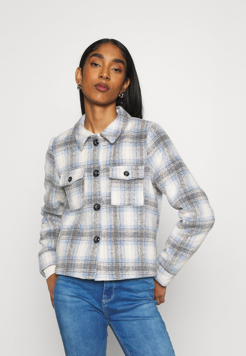 ONLY - ONLLOU SHORT CHECK JACKET - Summer jacket - pumice stone/allure