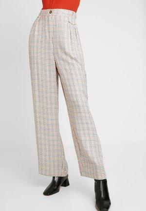 KAIA PANTS - Trousers - antique white/check pattern