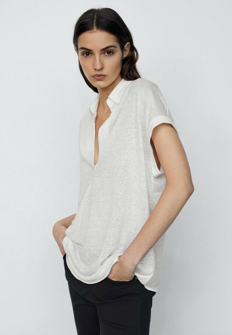 Massimo Dutti - MIT HEMDKRAGEN - Polo shirt - white