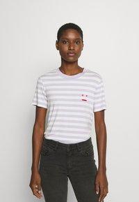Marc O'Polo DENIM - SHORT SLEEVE STRIPE - Print T-shirt - multi/syringa lilac - 0