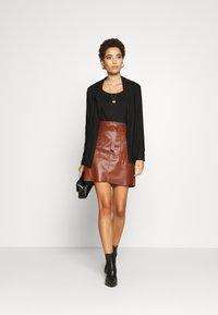 Esqualo - SKIRT FANCY WAISTBELT - Mini skirt - brown - 1