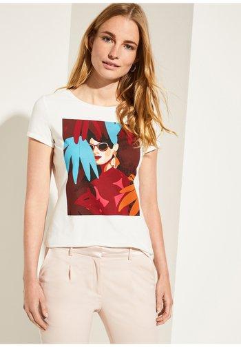 Print T-shirt - white placed print woman