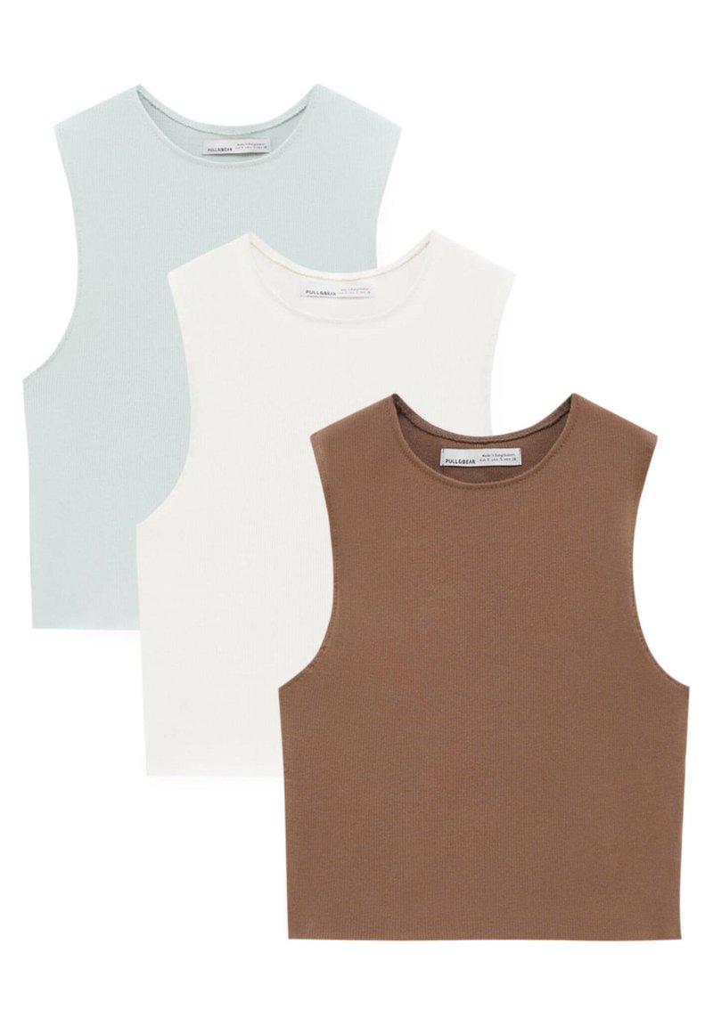 PULL&BEAR - 3 PACK - Débardeur - mottled light brown