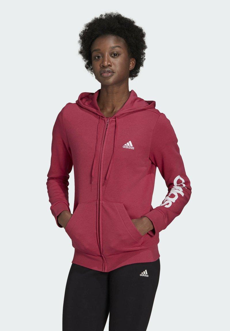 adidas Performance - W LIN FT FZ HD - Felpa aperta - pink