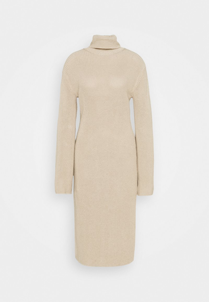 NA-KD - HEAVY DRESS - Gebreide jurk - light beige