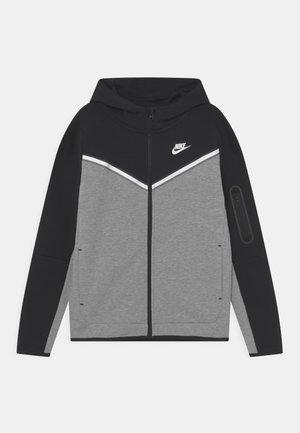 Zip-up sweatshirt - black/dark grey heather/white