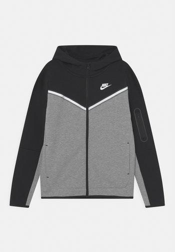 Sweater met rits - black/dark grey heather/white