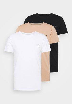 CREW TEE 3 PACK - T-shirt basic - black/ white/hazelnut