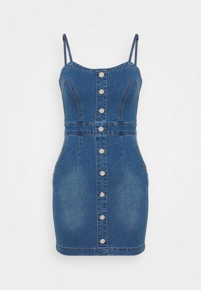 BUTTON DETAIL STRETCH MINI DRESS - Denim dress - light blue