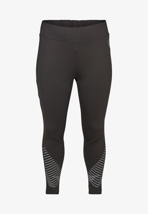 CROPPED SPORTS LEGGINGS WITH PRINT DETAILS - Leggings - Trousers - black