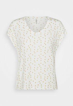 ONLMANYA GLITTER V NECK  - Camiseta estampada - cloud dancer