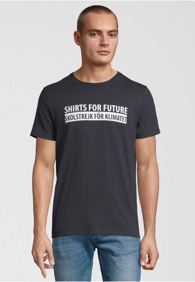 Print T-shirt - navy / white