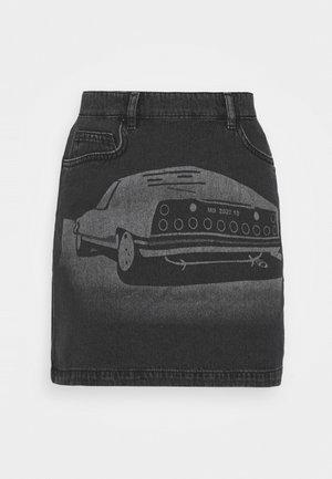 LASER PRINT MINI SKIRT - Mini skirt - black