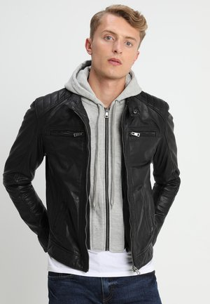 SEAN - Lederjacke - black/light grey hood