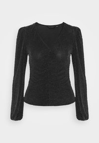 Dorothy Perkins - LUREX RUCHED FRONT - Long sleeved top - black - 4