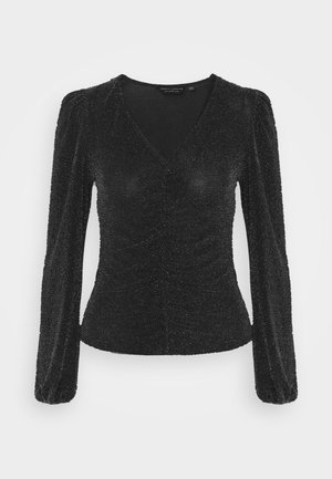 LUREX RUCHED FRONT - Long sleeved top - black