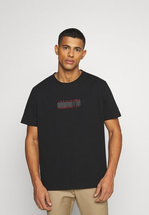 STAMP LAMINATE CREW - Print T-shirt - jet black